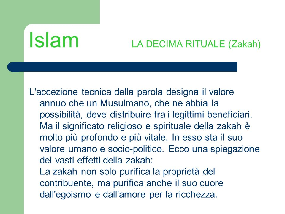 Islam LA DECIMA RITUALE (Zakah)