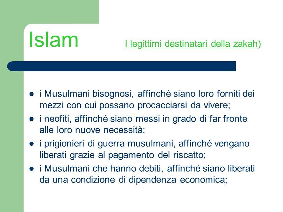 Islam I legittimi destinatari della zakah)