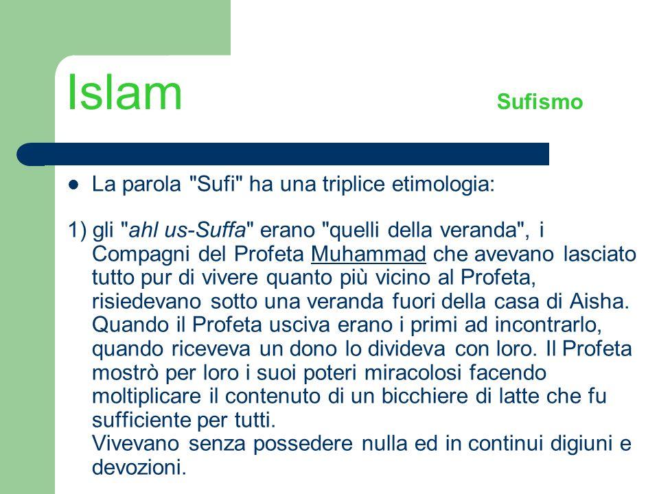 Islam Sufismo La parola Sufi ha una triplice etimologia: