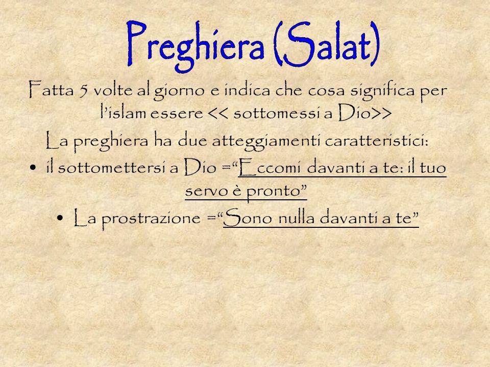Preghiera (Salat) Fatta 5 volte al giorno e indica che cosa significa per l'islam essere << sottomessi a Dio>>