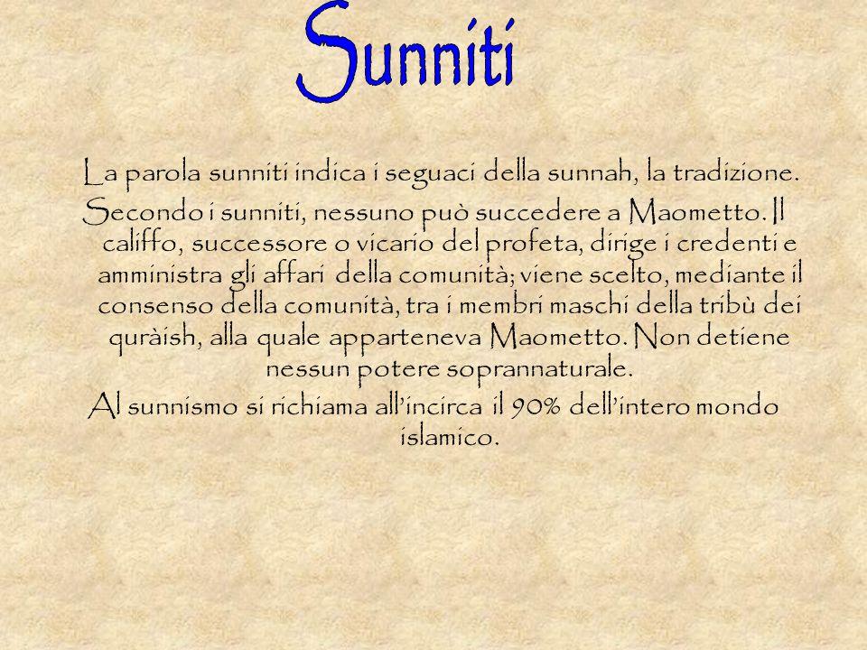 Sunniti La parola sunniti indica i seguaci della sunnah, la tradizione.