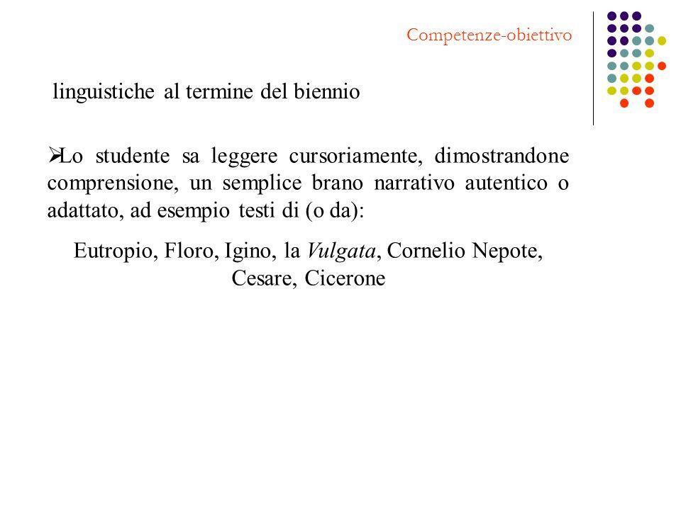 Eutropio, Floro, Igino, la Vulgata, Cornelio Nepote, Cesare, Cicerone