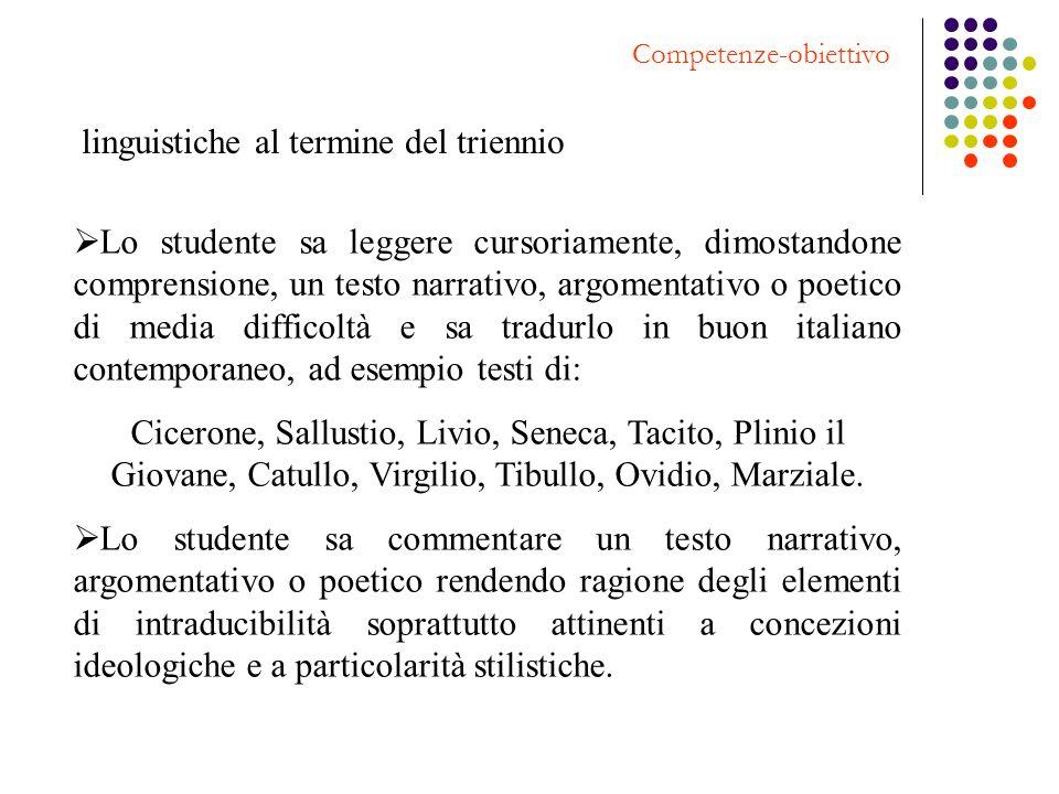 linguistiche al termine del triennio