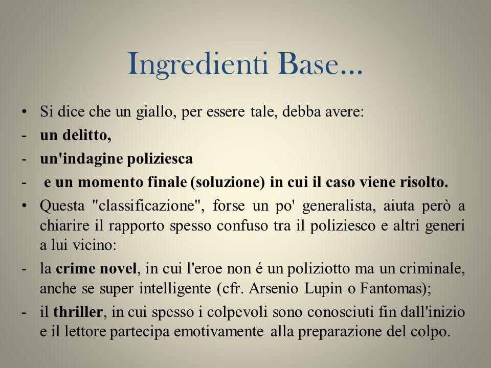 Ingredienti Base... Si dice che un giallo, per essere tale, debba avere: un delitto, un indagine poliziesca.
