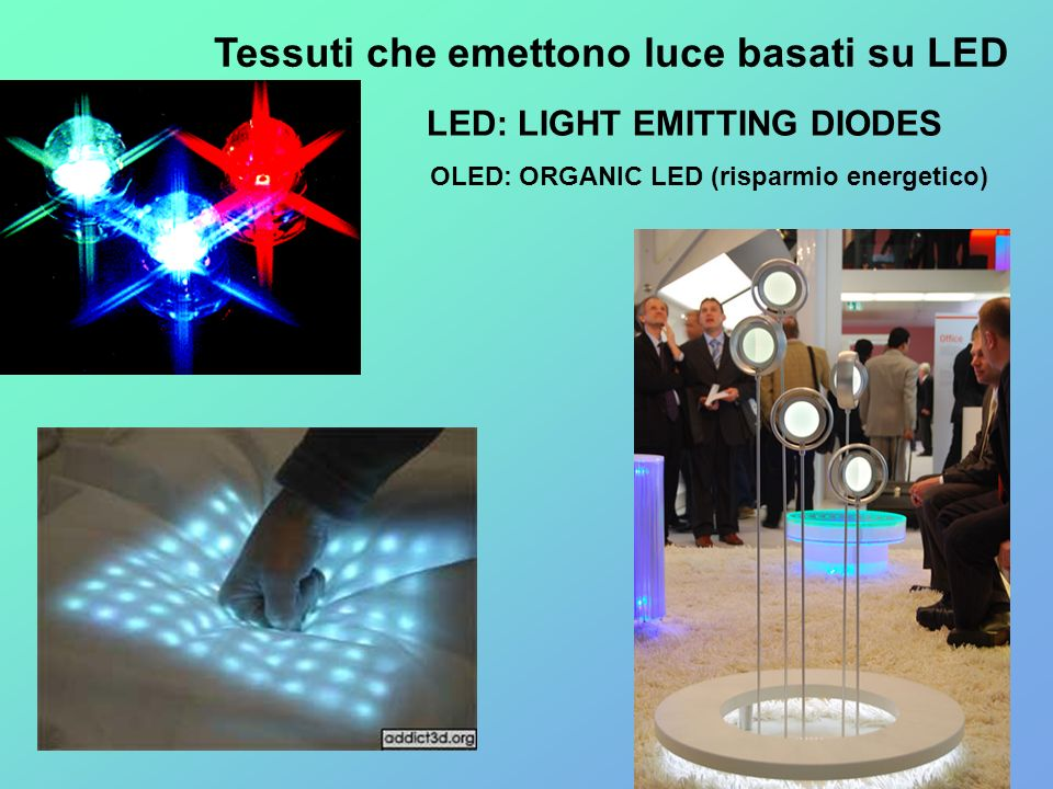 LED: LIGHT EMITTING DIODES OLED: ORGANIC LED (risparmio energetico)