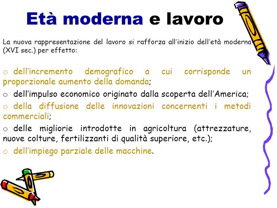 Età moderna e lavoro La nuova rappresentazione del lavoro si rafforza all'inizio dell'età moderna (XVI sec.) per effetto:
