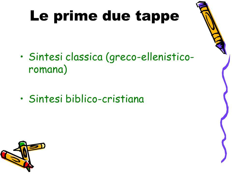 Le prime due tappe Sintesi classica (greco-ellenistico-romana)