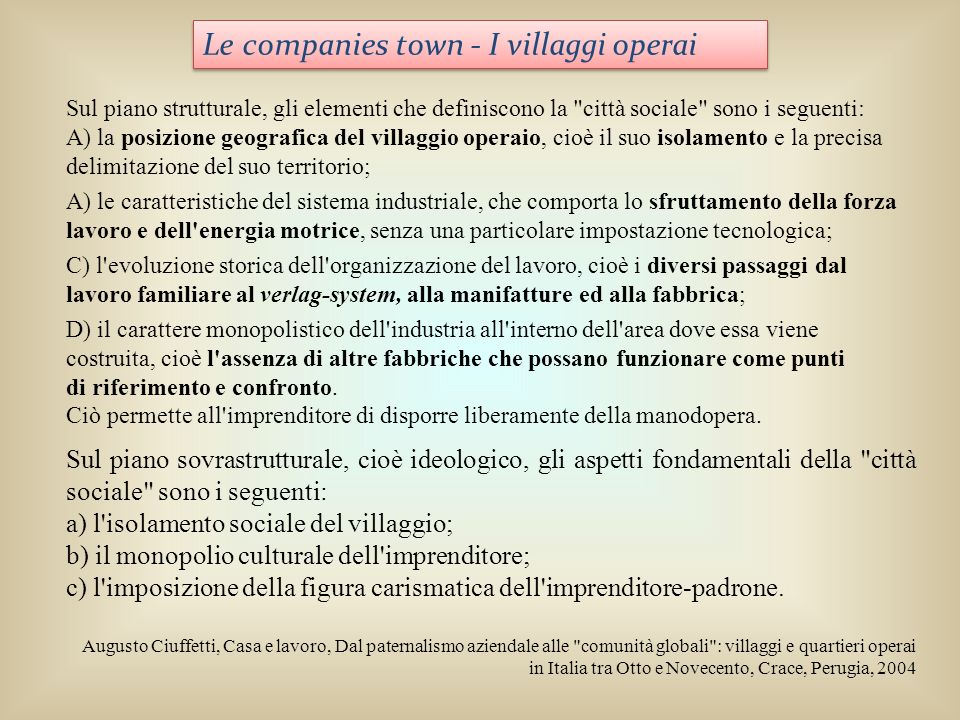 Le companies town - I villaggi operai