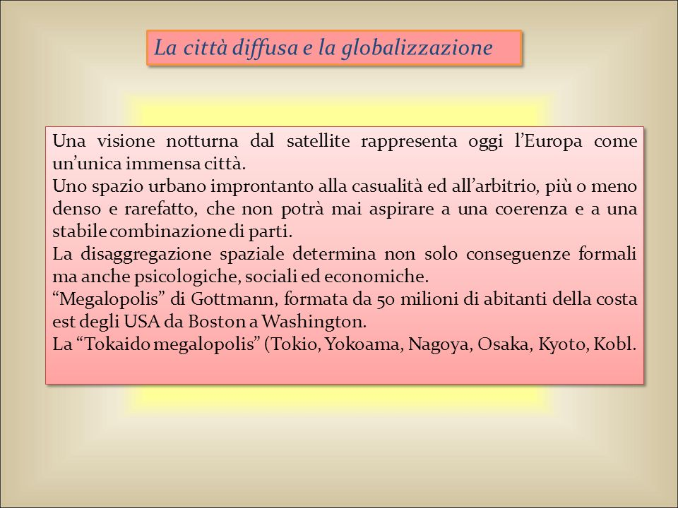 La città diffusa e la globalizzazione
