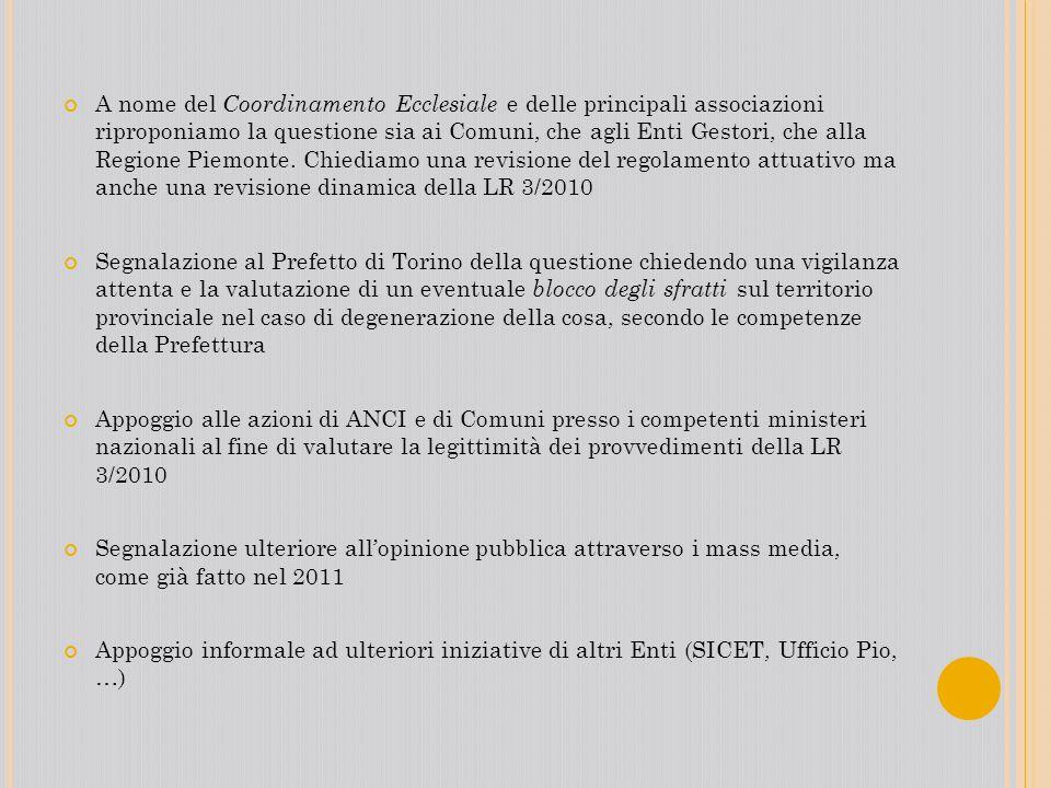 A nome del Coordinamento Ecclesiale e delle principali associazioni riproponiamo la questione sia ai Comuni, che agli Enti Gestori, che alla Regione Piemonte. Chiediamo una revisione del regolamento attuativo ma anche una revisione dinamica della LR 3/2010