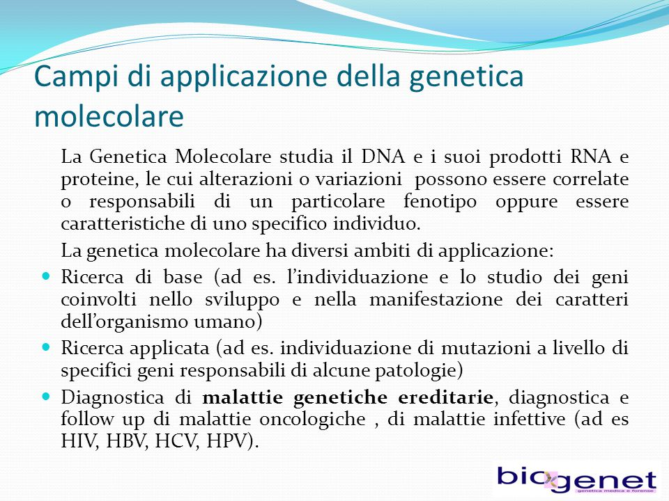 Campi di applicazione della genetica molecolare