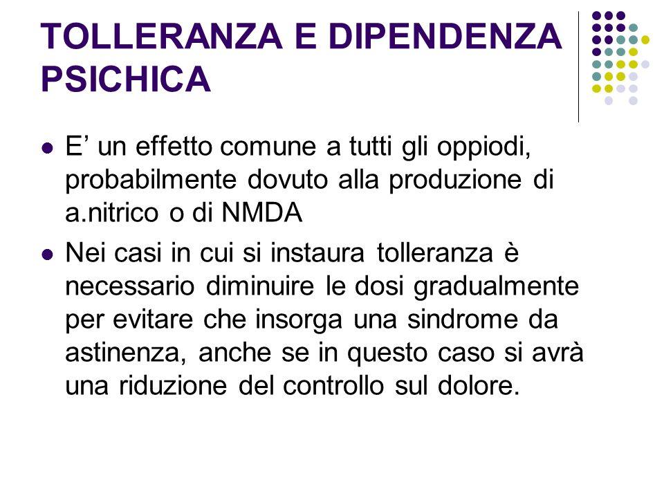 TOLLERANZA E DIPENDENZA PSICHICA