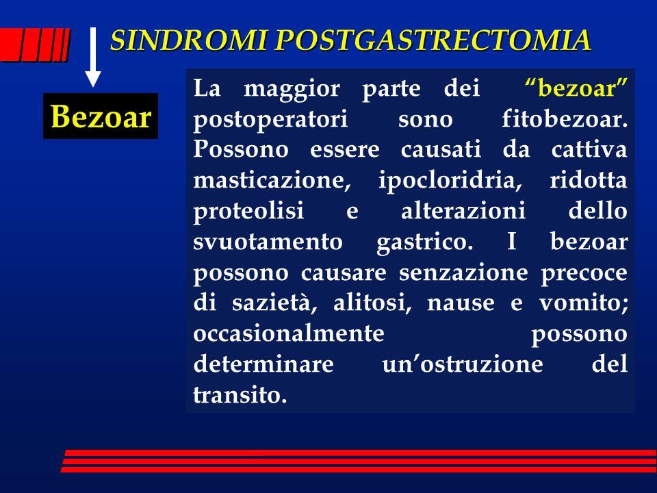 La maggior parte dei bezoar postoperatori sono fitobezoar