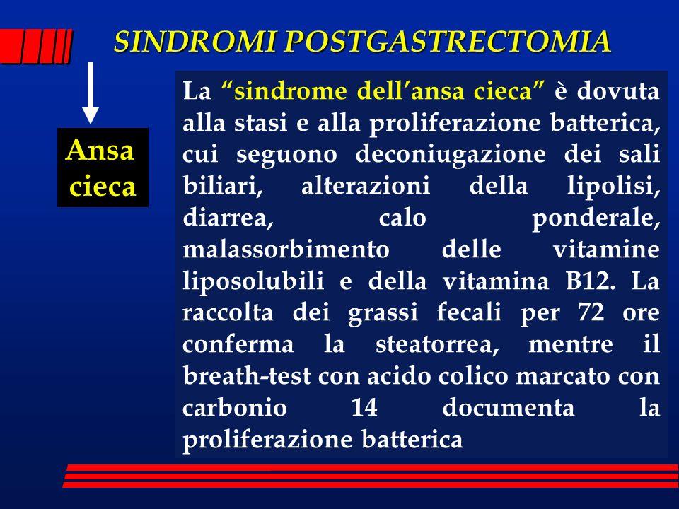 La sindrome dell'ansa cieca è dovuta alla stasi e alla proliferazione batterica, cui seguono deconiugazione dei sali biliari, alterazioni della lipolisi, diarrea, calo ponderale, malassorbimento delle vitamine liposolubili e della vitamina B12. La raccolta dei grassi fecali per 72 ore conferma la steatorrea, mentre il breath-test con acido colico marcato con carbonio 14 documenta la proliferazione batterica