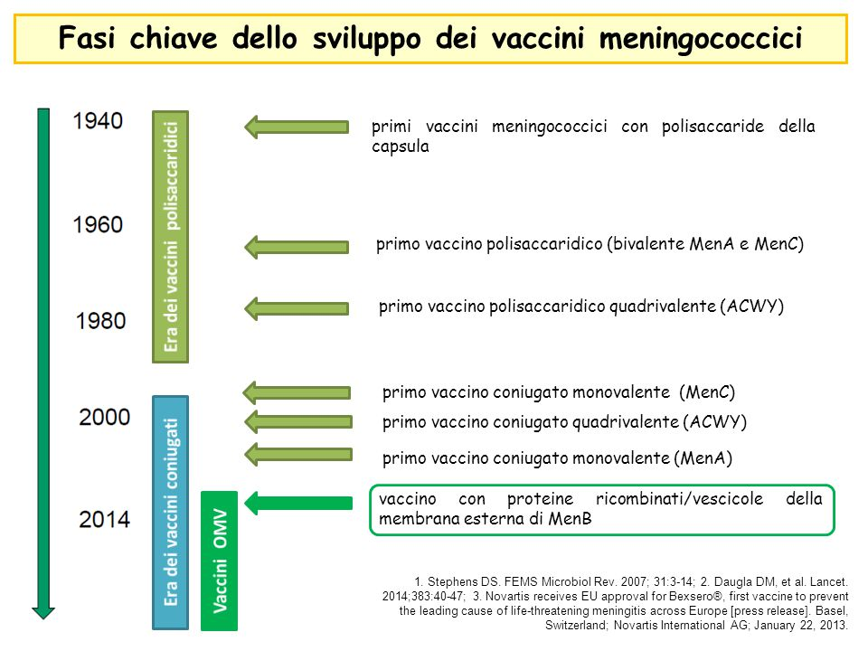 Fasi chiave dello sviluppo dei vaccini meningococcici