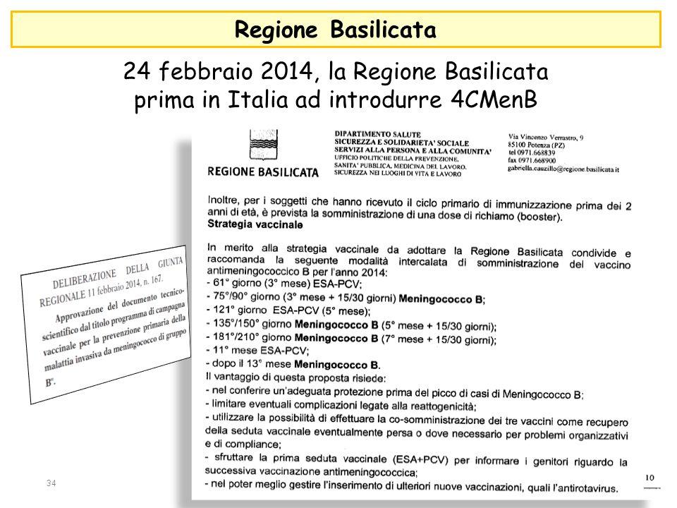 Regione Basilicata 24 febbraio 2014, la Regione Basilicata prima in Italia ad introdurre 4CMenB 34