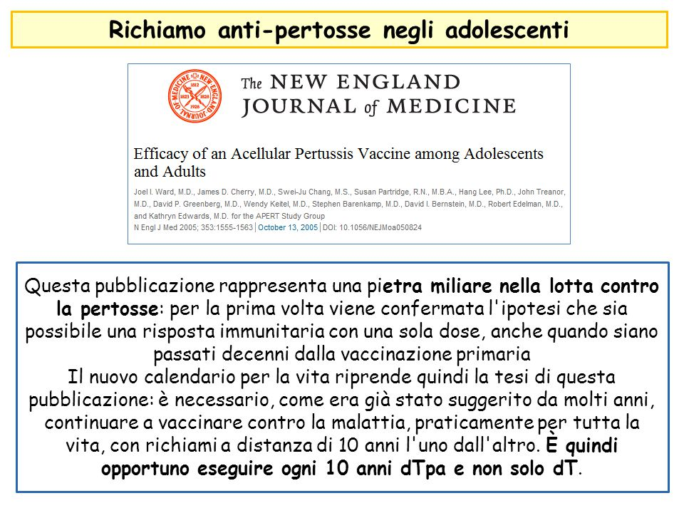 Richiamo anti-pertosse negli adolescenti