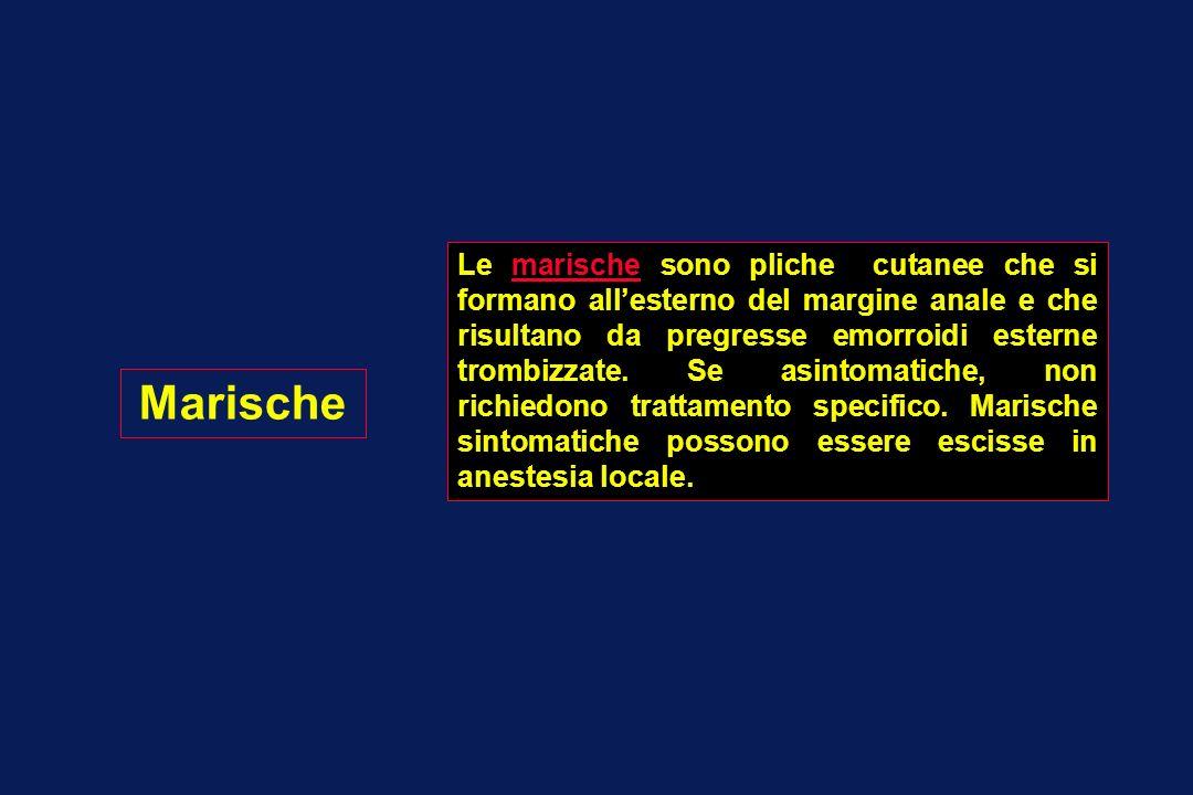 Le marische sono pliche cutanee che si formano all'esterno del margine anale e che risultano da pregresse emorroidi esterne trombizzate. Se asintomatiche, non richiedono trattamento specifico. Marische sintomatiche possono essere escisse in anestesia locale.