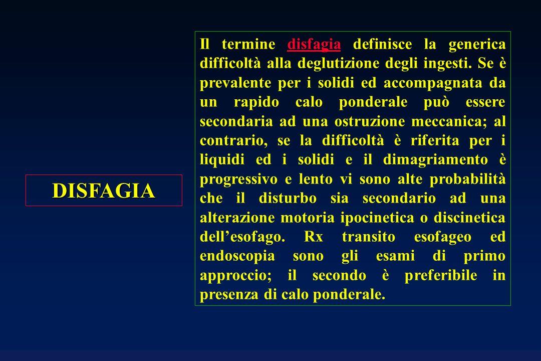 Il termine disfagia definisce la generica difficoltà alla deglutizione degli ingesti. Se è prevalente per i solidi ed accompagnata da un rapido calo ponderale può essere secondaria ad una ostruzione meccanica; al contrario, se la difficoltà è riferita per i liquidi ed i solidi e il dimagriamento è progressivo e lento vi sono alte probabilità che il disturbo sia secondario ad una alterazione motoria ipocinetica o discinetica dell'esofago. Rx transito esofageo ed endoscopia sono gli esami di primo approccio; il secondo è preferibile in presenza di calo ponderale.