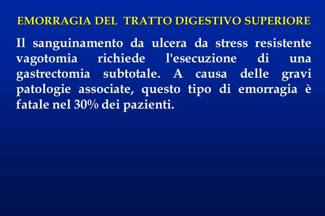 Il sanguinamento da ulcera da stress resistente vagotomia richiede l esecuzione di una gastrectomia subtotale.