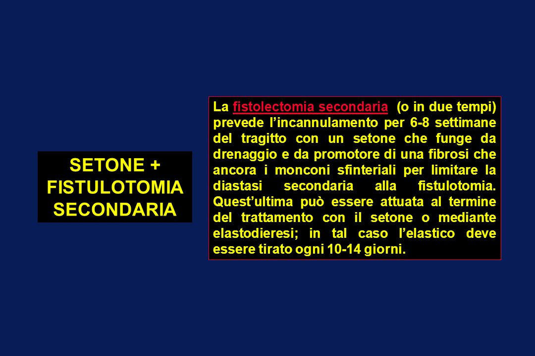 SETONE + FISTULOTOMIA SECONDARIA