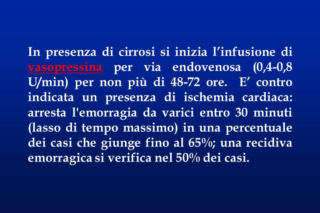 In presenza di cirrosi si inizia l'infusione di vasopressina per via endovenosa (0,4-0,8 U/min) per non più di 48-72 ore.