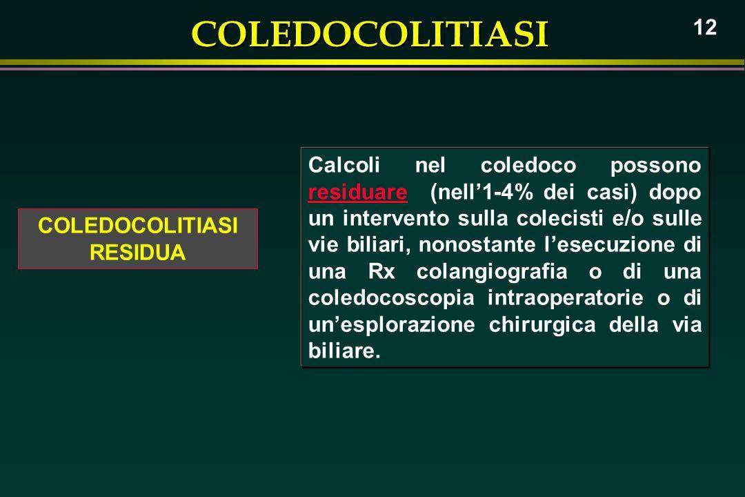 Calcoli nel coledoco possono residuare (nell'1-4% dei casi) dopo un intervento sulla colecisti e/o sulle vie biliari, nonostante l'esecuzione di una Rx colangiografia o di una coledocoscopia intraoperatorie o di un'esplorazione chirurgica della via biliare.