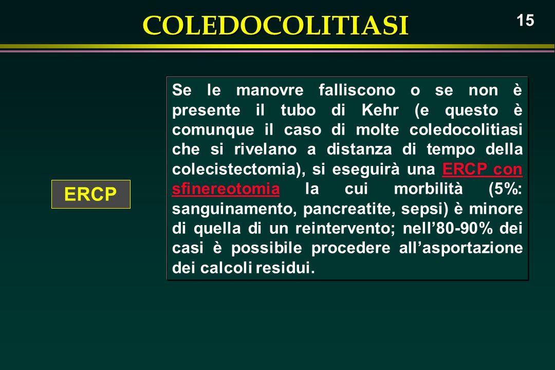 Se le manovre falliscono o se non è presente il tubo di Kehr (e questo è comunque il caso di molte coledocolitiasi che si rivelano a distanza di tempo della colecistectomia), si eseguirà una ERCP con sfinereotomia la cui morbilità (5%: sanguinamento, pancreatite, sepsi) è minore di quella di un reintervento; nell'80-90% dei casi è possibile procedere all'asportazione dei calcoli residui.