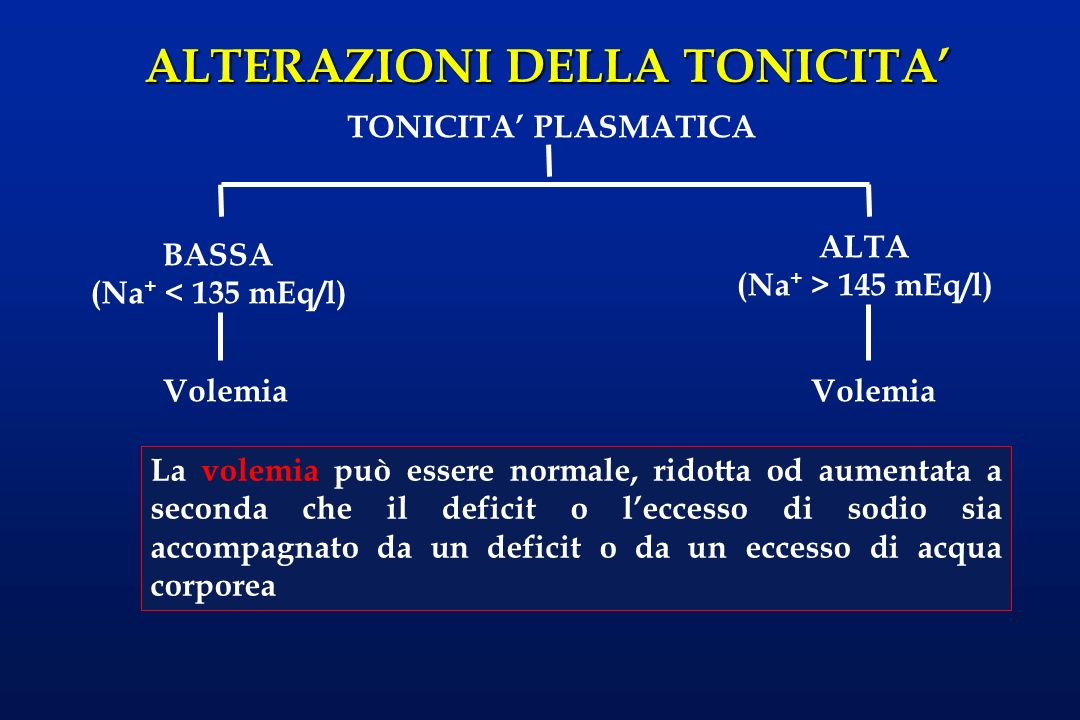 TONICITA' PLASMATICAALTA. (Na+ > 145 mEq/l) BASSA. (Na+ < 135 mEq/l) Volemia. Volemia.