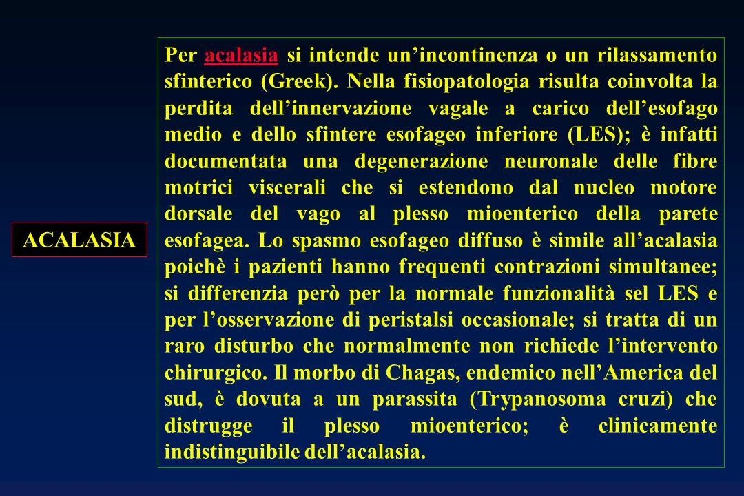 Per acalasia si intende un'incontinenza o un rilassamento sfinterico (Greek). Nella fisiopatologia risulta coinvolta la perdita dell'innervazione vagale a carico dell'esofago medio e dello sfintere esofageo inferiore (LES); è infatti documentata una degenerazione neuronale delle fibre motrici viscerali che si estendono dal nucleo motore dorsale del vago al plesso mioenterico della parete esofagea. Lo spasmo esofageo diffuso è simile all'acalasia poichè i pazienti hanno frequenti contrazioni simultanee; si differenzia però per la normale funzionalità sel LES e per l'osservazione di peristalsi occasionale; si tratta di un raro disturbo che normalmente non richiede l'intervento chirurgico. Il morbo di Chagas, endemico nell'America del sud, è dovuta a un parassita (Trypanosoma cruzi) che distrugge il plesso mioenterico; è clinicamente indistinguibile dell'acalasia.