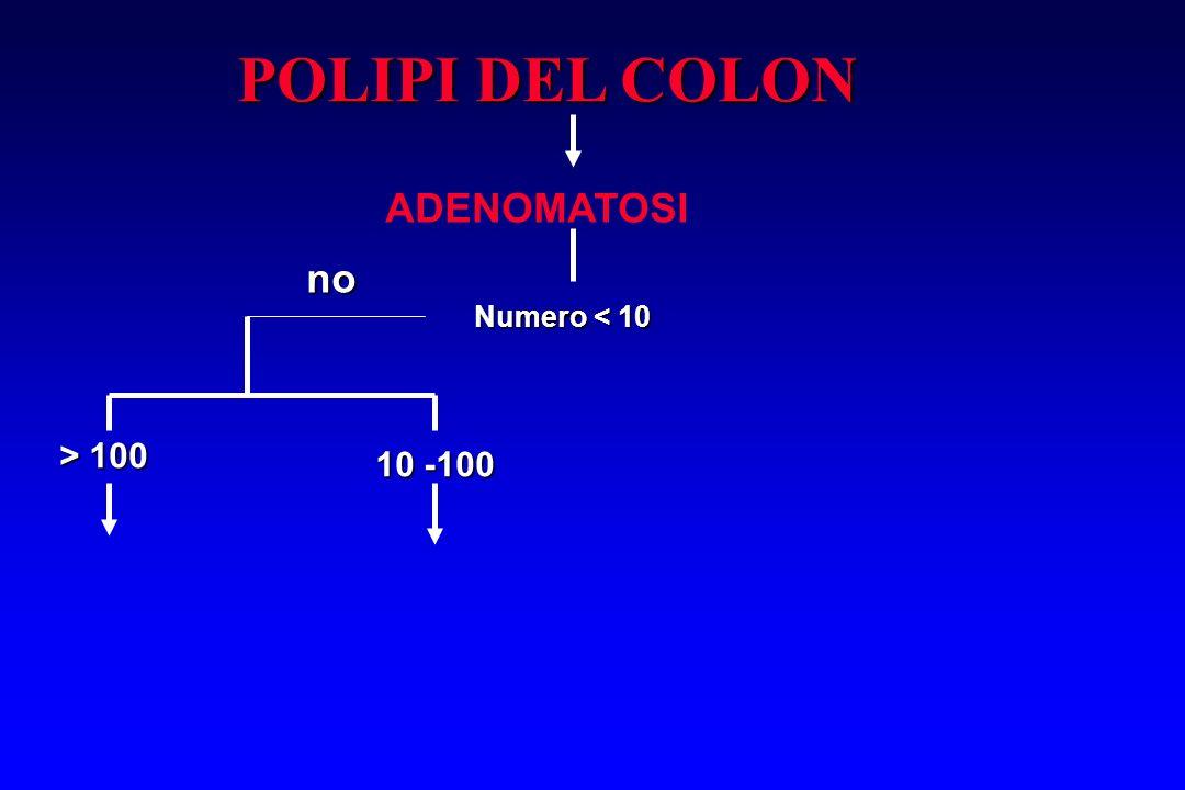 POLIPI DEL COLON ADENOMATOSI no Numero < 10 > 100 10 -100