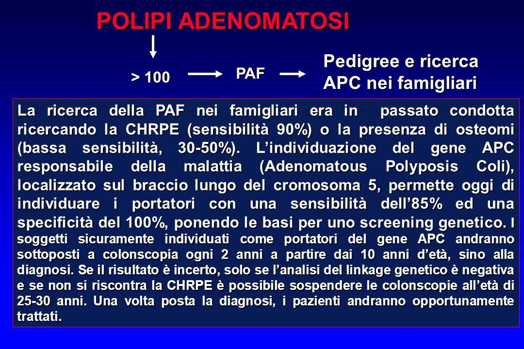 POLIPI ADENOMATOSI Pedigree e ricerca APC nei famigliari PAF > 100
