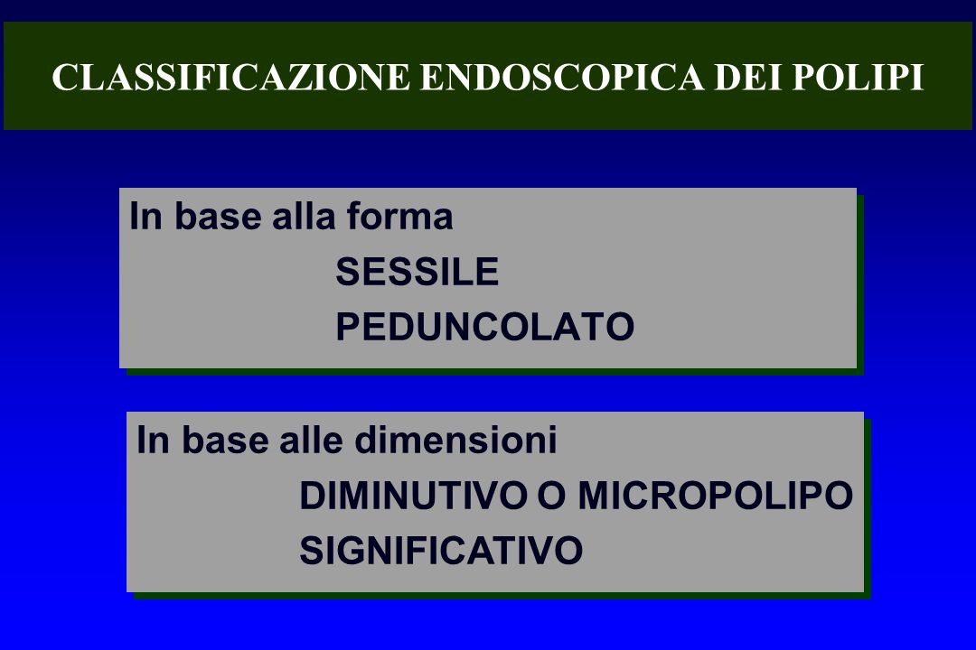 CLASSIFICAZIONE ENDOSCOPICA DEI POLIPI