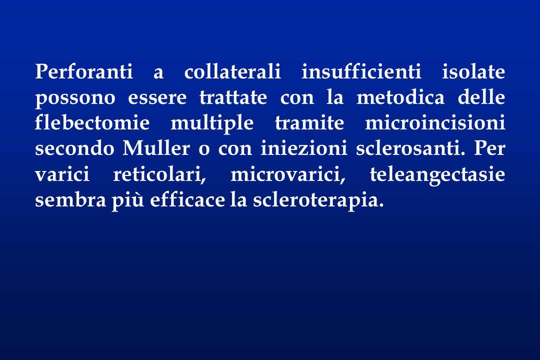 Perforanti a collaterali insufficienti isolate possono essere trattate con la metodica delle flebectomie multiple tramite microincisioni secondo Muller o con iniezioni sclerosanti.