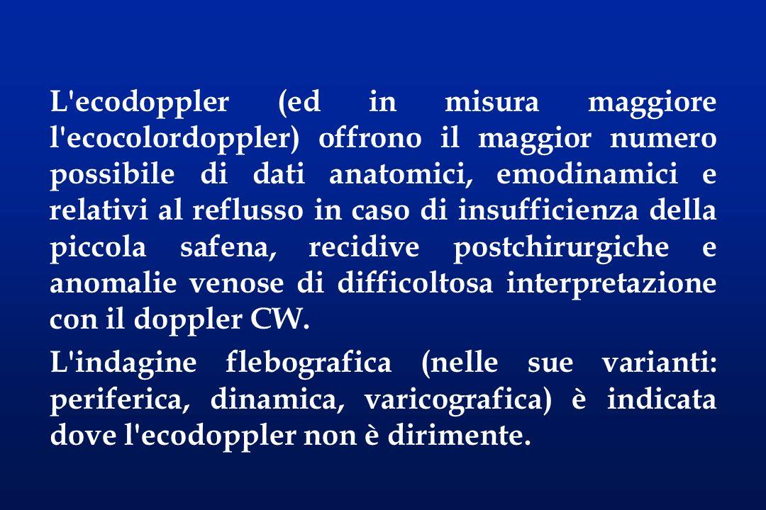 L ecodoppler (ed in misura maggiore l ecocolordoppler) offrono il maggior numero possibile di dati anatomici, emodinamici e relativi al reflusso in caso di insufficienza della piccola safena, recidive postchirurgiche e anomalie venose di difficoltosa interpretazione con il doppler CW.