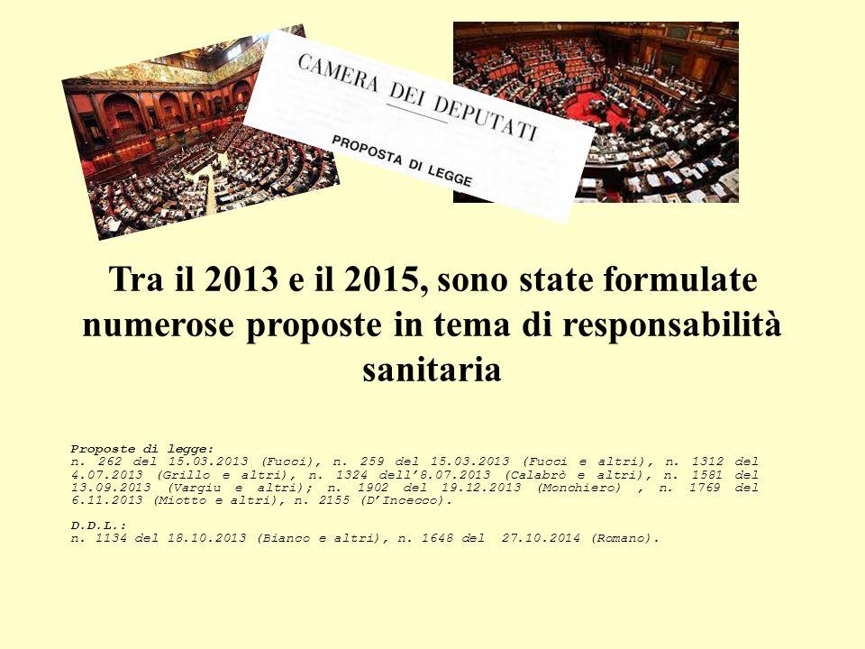 Tra il 2013 e il 2015, sono state formulate numerose proposte in tema di responsabilità sanitaria