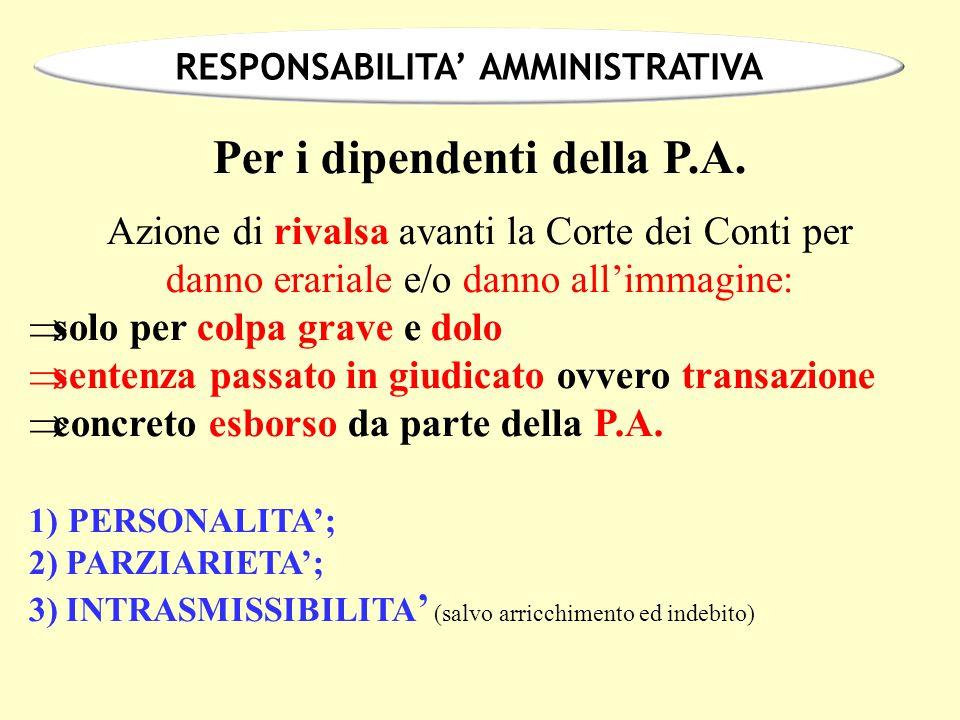 RESPONSABILITA' AMMINISTRATIVA Per i dipendenti della P.A.