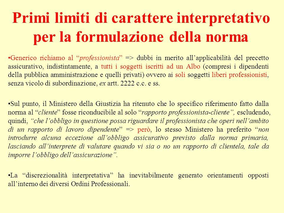 Primi limiti di carattere interpretativo per la formulazione della norma