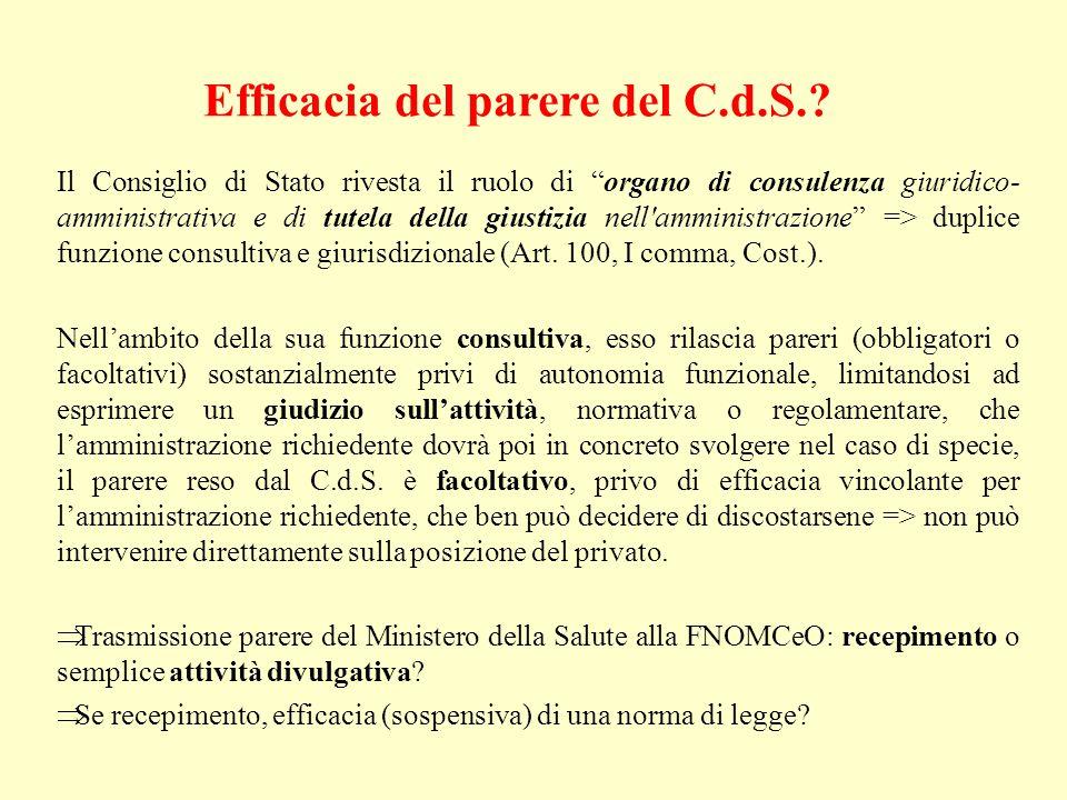 Efficacia del parere del C.d.S.