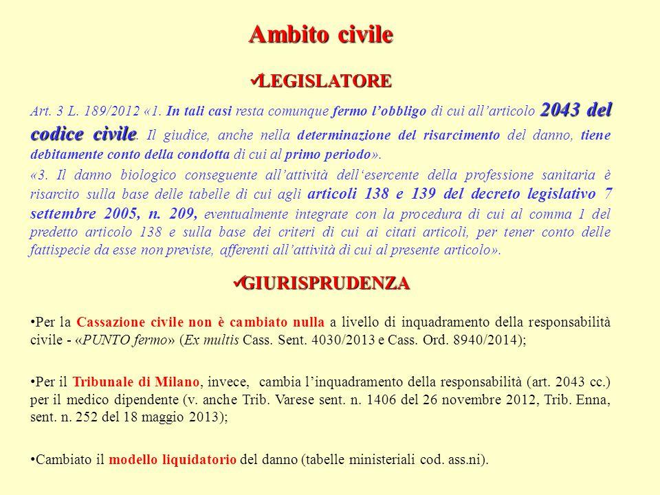 Ambito civile LEGISLATORE GIURISPRUDENZA