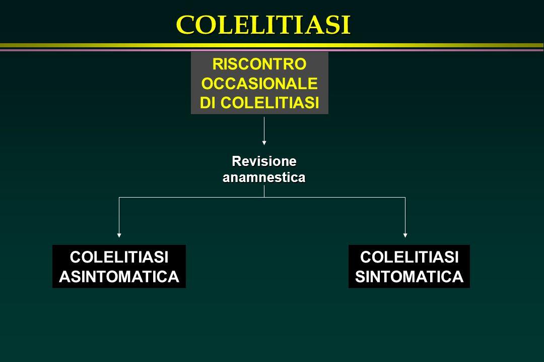 RISCONTRO OCCASIONALE DI COLELITIASI Revisione anamnestica
