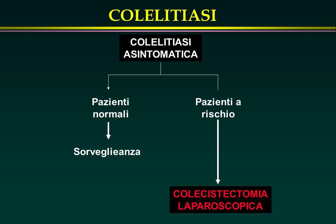 COLELITIASI ASINTOMATICA. Pazienti normali. Pazienti a rischio. Sorveglieanza. COLECISTECTOMIA.