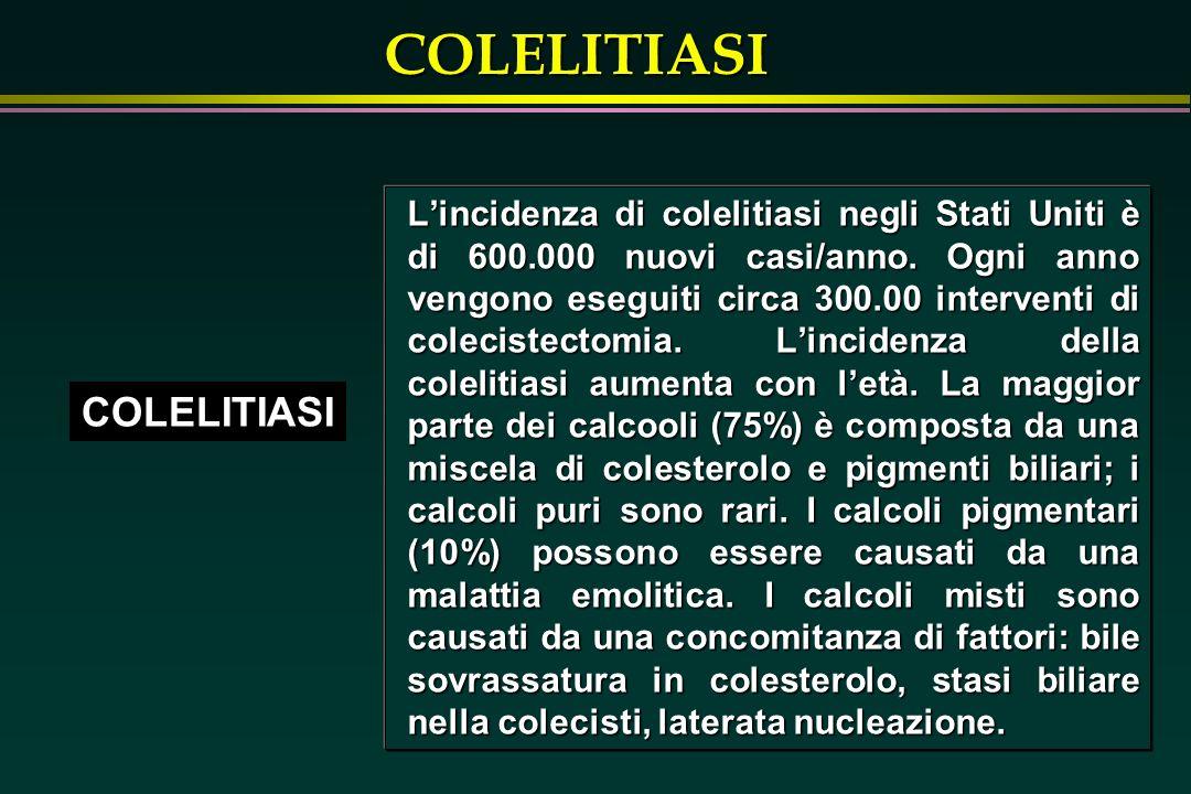L'incidenza di colelitiasi negli Stati Uniti è di 600