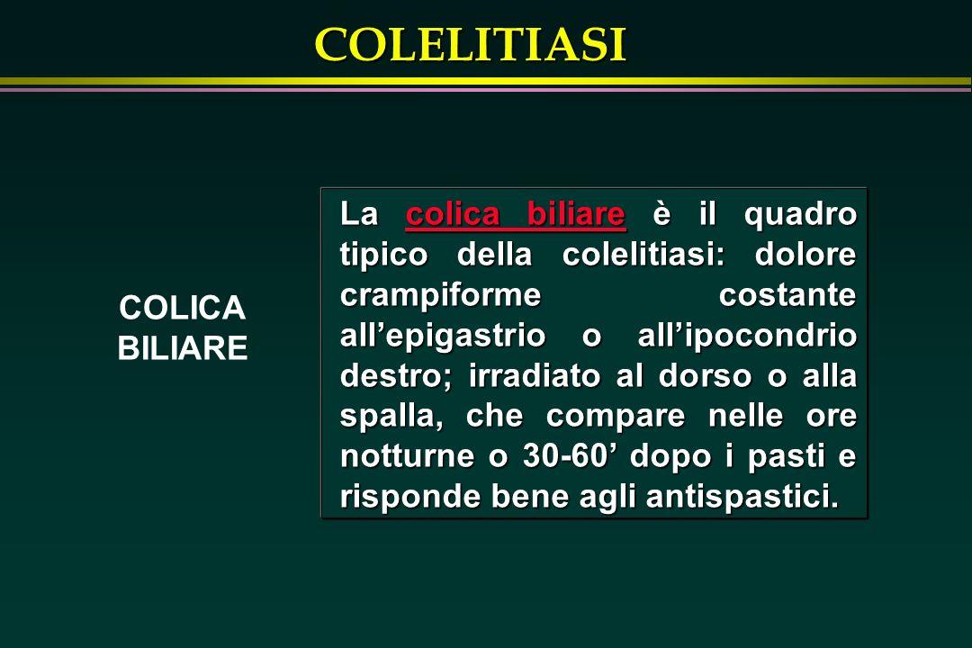 La colica biliare è il quadro tipico della colelitiasi: dolore crampiforme costante all'epigastrio o all'ipocondrio destro; irradiato al dorso o alla spalla, che compare nelle ore notturne o 30-60' dopo i pasti e risponde bene agli antispastici.