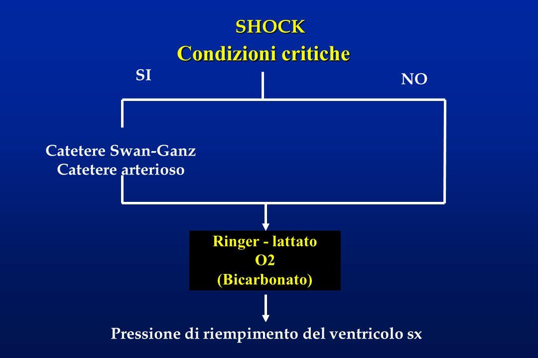 Condizioni critiche SI NO Catetere Swan-Ganz Catetere arterioso