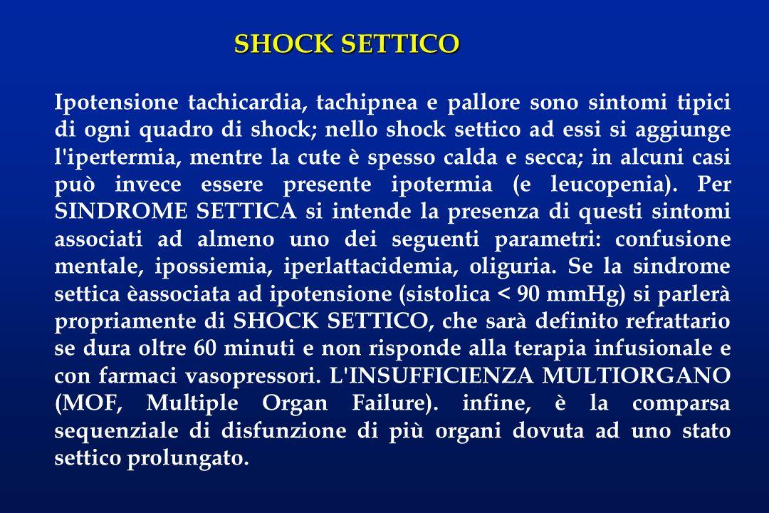 Ipotensione tachicardia, tachipnea e pallore sono sintomi tipici di ogni quadro di shock; nello shock settico ad essi si aggiunge l ipertermia, mentre la cute è spesso calda e secca; in alcuni casi può invece essere presente ipotermia (e leucopenia).