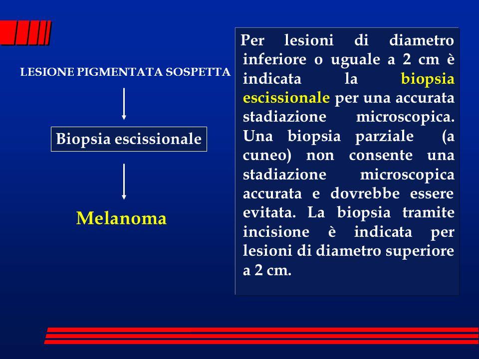 Per lesioni di diametro inferiore o uguale a 2 cm è indicata la biopsia escissionale per una accurata stadiazione microscopica. Una biopsia parziale (a cuneo) non consente una stadiazione microscopica accurata e dovrebbe essere evitata. La biopsia tramite incisione è indicata per lesioni di diametro superiore a 2 cm.