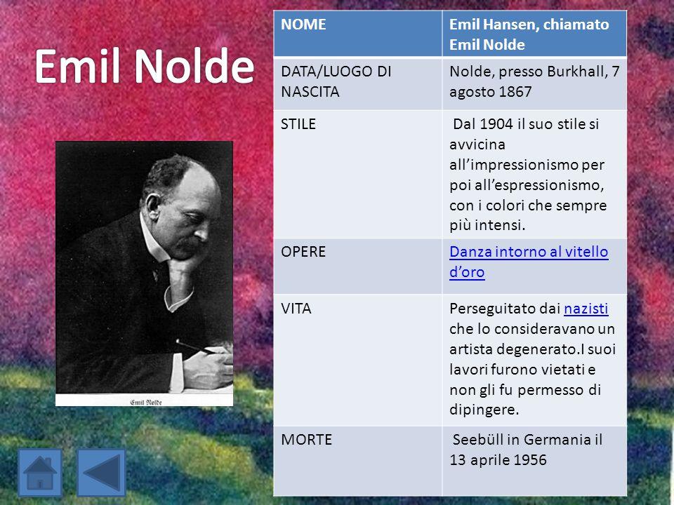 Emil Nolde NOME Emil Hansen, chiamato Emil Nolde DATA/LUOGO DI NASCITA
