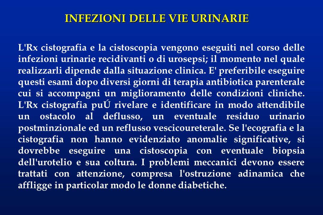 L Rx cistografia e la cistoscopia vengono eseguiti nel corso delle infezioni urinarie recidivanti o di urosepsi; il momento nel quale realizzarli dipende dalla situazione clinica.
