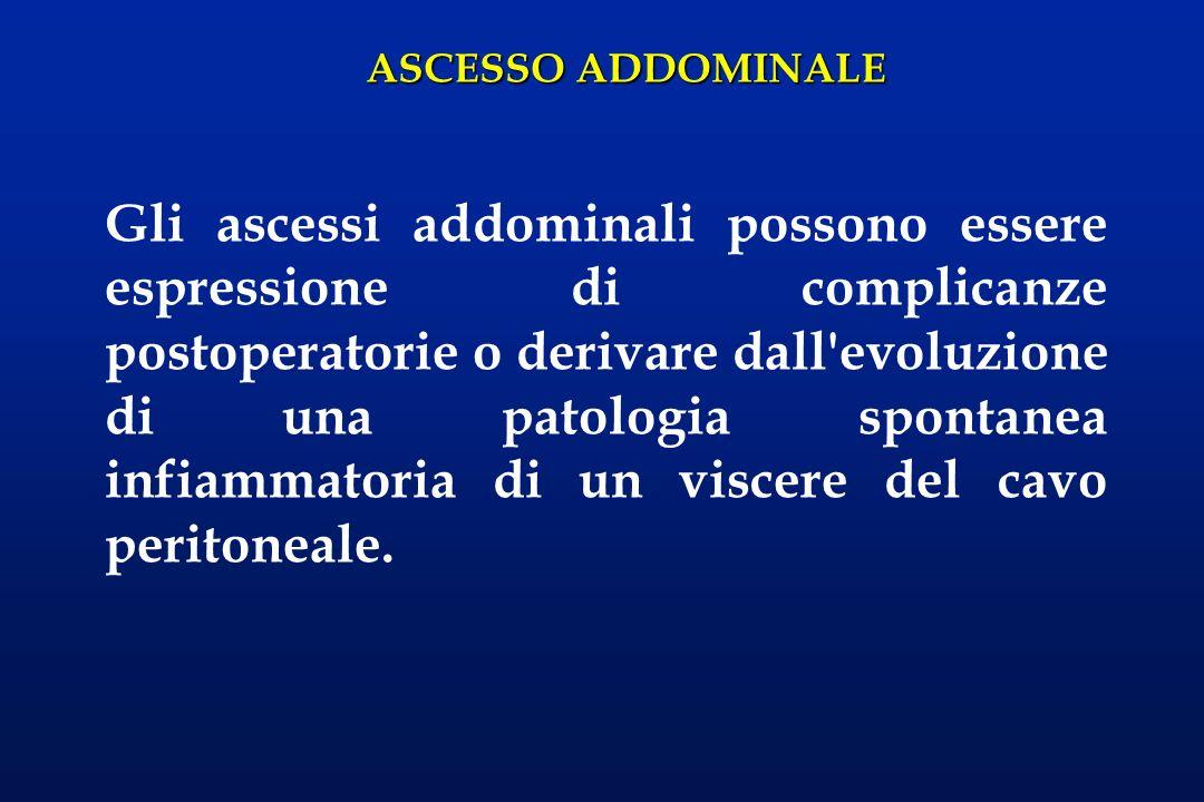 Gli ascessi addominali possono essere espressione di complicanze postoperatorie o derivare dall evoluzione di una patologia spontanea infiammatoria di un viscere del cavo peritoneale.